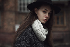 Anya (ivankopchenov) Tags: city light shadow portrait people cold cute girl beautiful face hat canon dark hair eos sadness 50mm model soft noir mood natural russia outdoor fineart young naturallight lonely melancholy sorrow chelyabinsk