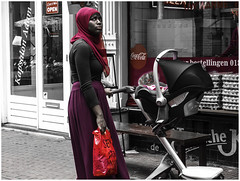 Not so happy (Luc V. de Zeeuw) Tags: islam kerchief pram roach woman