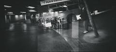Walk, Bus, Bike (Jeremy Brooks) Tags: sanfrancisco california street people blackandwhite bw usa bus film bike bicycle blackwhite parkinggarage doubleexposure muni transit sanfranciscocounty camera:make=olympus camera:model=stylus