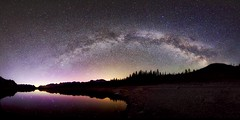 Panorama_Kananaskis  Galaxy (John Andersen (JPAndersen images)) Tags: sky lake mountains night clouds reflections stars kananaskis pond colours aurora milkyway upperlake ptgui aalberta craigebel