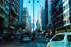 Rusty Street (hiphopmilk) Tags: road street city jared hk building bus film car sign analog 35mm way streetlight traffic kodak rusty rail hong kong vehicle analogue streetcar tramway minox trolleybus yeh tramcar 35ml 135film pj400 hiphopmilk