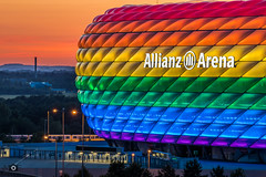 Allianz Arena, Christopher Street Day (_ME_photography) Tags: christopher street day csd munich mnchen 2016 allianz arena fusball soccer football minga toleranz tolerance homosexualitt homo regenbogen rainbow bayern bavaria deponie mllberg teleobjektiv eos 80d canon tamron 70 300 stativ tripod rollei led beleuchtung stadion stadium 1860 dawn dusk sunrise sunset sonnenuntergang blue hour blaue stunde outdoor atmosphre atmosphere schlauchboot wm2006 fc staduim fuasboi frttmaning autofocus