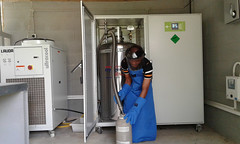 LN dispensing from the LNG (IITA Image Library) Tags: nigeria lng iita liquidnitrogengenerator