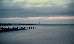 West Beach Breakwaters (hall1705) Tags: longexposure blue sea seascape beach westsussex dusk le shore groyne breakwater d3200