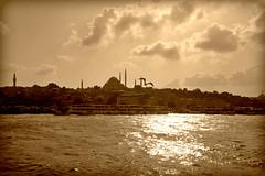 Istanbul, view of Sultanahmet from the Galata Bridge (Valerio_D) Tags: istanbul sultanahmet 2014estate sepia trkiyecumhuriyeti trkiye turchia turkey galatakprs galatabridge pontedigalata seppia 1001nights ruby5 ruby10