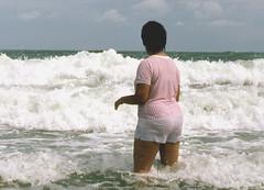 Cocoa Beach close-up, 1988 (clarkfred33) Tags: ocean beach surf waves 1988 wade splash atlanticocean swimwear soaked cocoabeach wetfun wetclothes whiteshorts wetshorts wetlady wetadventure