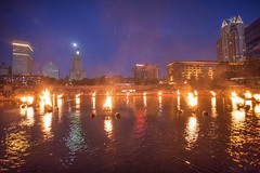 The basin skyline at WaterFire (waterfireprov) Tags: basinskyline firstlight moon