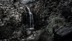 Morialta (*ScottyO*) Tags: winter panorama cliff plants nature wet water monochrome clouds dark landscape waterfall rocks stream moody outdoor australia falls adelaide sa southaustralia shrubs morialta busher morialtafalls