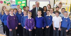 With P6 and P7 pupils at West Barns Primary School