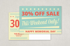 Retro Memorial Day Postcard (inkdphotos) Tags: blue red usa white texture america stars sale stripes postcard americanflag patriotic event script 4thofjuly independenceday template laborday memorialday bold sansserif mixedtype