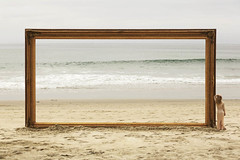 (brianoldham) Tags: ocean beach nature water girl beauty painting gold golden sand waves dress surreal frame brianoldham