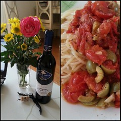 Dinner with Sam. Homecooked meal ~ spaghetti alla #puttanesca #whoresauce #yum #foodporn #pasta #wine #bluenun (hellaOAKLAND) Tags: square squareformat normal iphoneography instagramapp uploaded:by=instagram
