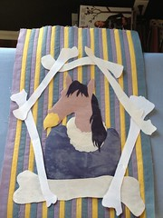 layout idea for quilt (squishythings) Tags: horse yellow grey weird purple quilt stripes bones inprogress vulture fiberart artquilt