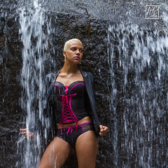 Water goes Pink ..! (hfcnathan) Tags: girls sexy rock female waterfall models rocher femmes chutedeau frenchguiana roura guyanefranaise modles fourgassi