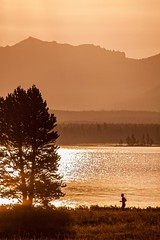 Sunset Jogging (tabitha hawk photography) Tags: travel trees sunset sky people orange sun black nature water clouds forest landscape outdoors nationalpark flora unitedstates hiking evergreens yellowstonenationalpark yellowstone wyoming jogging jogger tabithahawk