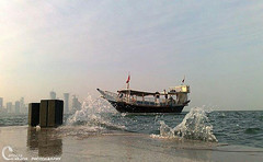 -  (~. Xerox .~) Tags: sea water ship splash qatar