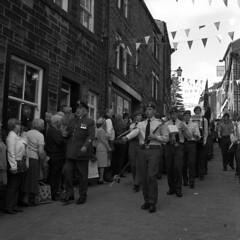 Parade (Julian Dyer) Tags: vintage blackwhite yorkshire haworth ilfordfp4 ilfordddx mamiyac330f mamiya80mmf28 haworth1940sweekend