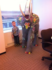 Visiting the elephant at Mommy's work (chadjane) Tags: charlie uploaded:by=flickrmobile flickriosapp:filter=nofilter