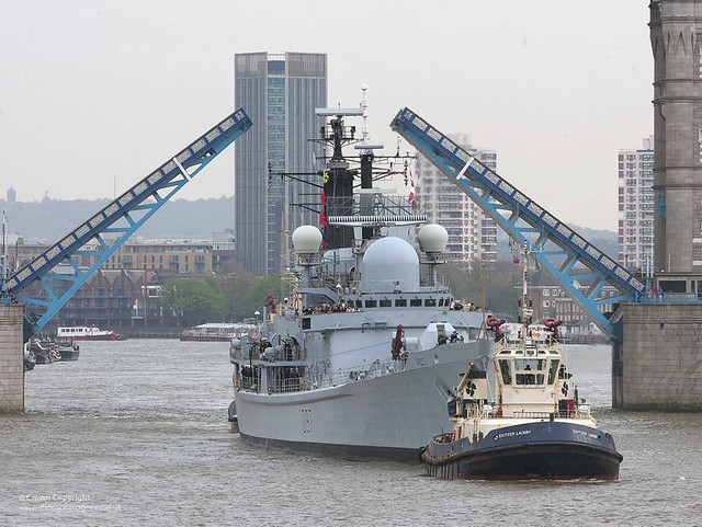 HMS Edinburgh Passes Under Tower Bridge, London
