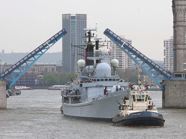 HMS Edinburgh Passes Under Tower Bridge, London