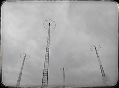24 Nov 2012 (Rob Rocke) Tags: sky blackandwhite bw monochrome strange clouds blackwhite newjersey skies apocalypse scifi clifton radiotowers snapseed