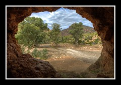 From inside the cave, Flinders Ranges (shashin62) Tags: trees sky clouds rocks australia outback cave flindersrangessouthaustralia