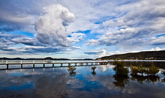 Point Clare 7446 (russell.bray) Tags: seascape net water clouds reflections point boat clare jetty australia nsw
