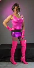 Hot Pink & Bootastic! (kaceycd) Tags: boots tgirl gloves bodysuit stilettoheels miniskirt pantyhose crossdress spandex lycra tg leotard stilettos thighboots wetlook shinyboots stilettoboots longgloves sexyboots operagloves vinylboots