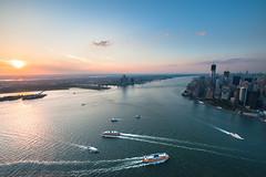 New York Harbor Sunset (kwsnyc) Tags: city nyc newyorkcity newyork ferry harbor boat dock jerseycity traffic manhattan worldtradecenter batterypark eastriver hudsonriver lowermanhattan statenislandferry seaport aerials newyorkharbor freedomtower oneworldtradecenter gettyimagesartistspicks