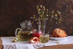 Camomile Tea (panga_ua) Tags: light stilllife food color art composition canon spectacular healthy artwork berries artistic tea availablelight plate ukraine poetic creation sweets imagination natalie presentation oakwood arrangement tabletop spoons bodegon naturemorte panga glassware artisticphotography rivne naturamorta camomile artphotography sharpfocus kalyna paintedbackground camomiletea glassteapot whitenapkin woodentabletop  nataliepanga guelderroseberries berriesfrayedwithsugar sugaredbuns pirozhkiwithcherries checkeredlid