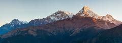 Annapurna (Craig Holloway) Tags: nepal panorama snow mountains sunrise trek nikon stitch voigtlander annapurna himalayas d800 poonhill ghorepani annapurnasouth hiunchuli