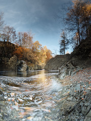 Swirly leaves (DB165802 0pv5-1 blend x3 lighten 10.0mm iso100 f11 1.6s) (Mel Stephens) Tags: uk november autumn water river landscape geotagged scotland rocks long exposure solitude aberdeenshire angus north olympus best glen le modified gps scape zuiko stitched hdr 43 omd em1 esk ptgui m43 fourthirds q4 glenesk 2013 mirrorless mmf3 micro43 microfourthirds 918mm 201311 20131116
