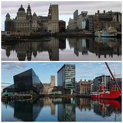 Liverpool 2007 & 2014 (Bev Goodwin) Tags: urban collage skyline architecture liverpool waterfront pierhead royalliverbuilding portauthoritybuilding portofliverpoolbuilding cunardbuilding mannisland liverpool2007 hmslightship liverpool2014