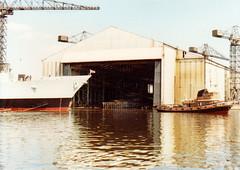 5. F93. HMS Beaver launching. (Fred J Carss) Tags: river riverclyde clyde 1982 ship navy beaver tugboat tug launch yarrow hms royalnavy broadsword hmsbeaver f93 flyingscout