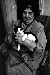 Портрет (malan10) Tags: portrait bw cat kitten oldwoman