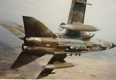 RAF Tornado GR1, Sardinia, 1989 (Hammerhead27) Tags: training plane war exercise xx aircraft military olympus pylon belly bomb tornado gr1 raf squadron panavia royalairforce swingwing laarbruch mrca droptank decimomannu rb199 20sqn