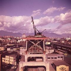 granville st bridge construction oct22 1953, city of vancouver (vancouverbyte) Tags: vancouver oldvancouver vancouverarchives vintagevancouver