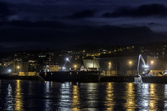 Teignmouth docks at night (mark hawker2013) Tags: uk moon night docks paper lights nikon long exposure ship harbour devon teignmouth d5100