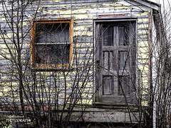 Gray Door (G. Maxwell) Tags: shapes structures oldbuildings abandonedbuildings oldstuff 2014 colborne buildingsandlines omdm1