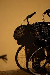 Reggio Emilia, città delle biciclette #2 (city of bicycles #2) (S. Hemiolia) Tags: reggioemilia emilia bicycles cicycle biciclette bicicletta bici streetphotography sunset tramonto light luce ombra ombre shadows shadow muro giallo ocra yellow muri wall parete