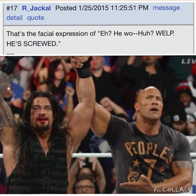 #therock raising the arm of his fam #romanreigns after Roman won the #royalrumble last night. Great comment by this #gamefaqs poster. #wwe #wrestling #wwenetwork #999 #lol