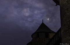 Misty Moon (Franco Beccari) Tags: world city trip travel blue vacation moon white mist holiday black france color colour castle tourism yellow night clouds photography monocromo nikon europe nikkor minimalismo carcassone d600 allaperto nikond600