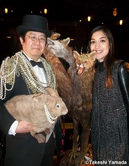 "Dr. Takeshi Yamada and Seara (sea rabbit) won the BEST IN SHOW 2014, FIRST PRIZE at the Carnivorous Nights: Taxidermy Contest with his ""Odyssey Monster"" and ""Space Alien Skull"" at the Bell House in Brooklyn, NY on April 6, 2014.    086===C (searabbit22) Tags: ny newyork sexy celebrity art hat fashion animal brooklyn painting asian coneyisland japanese star costume tv google king artist dragon god cosplay manhattan wildlife famous gothic goth performance pop taxidermy cnn tuxedo bikini tophat unitednations playboy entertainer takeshi samurai genius mermaid amc mardigras salvadordali unicorn billclinton billgates aol vangogh curiosities sideshow jeffkoons globalwarming takashimurakami pablopicasso steampunk yamada damienhirst cryptozoology freakshow barackobama seara immortalized takeshiyamada museumofworldwonders roguetaxidermy searabbit ladygaga climategate minnesotaassociationofroguetaxidermists"