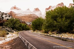 Capital Reef National Park April snow (Thomas DeHoff) Tags: road park mist snow clouds sony capital national reef a700