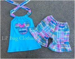 Minnie Plaid (Lil' Bug Clothing) Tags: mouse outfit short minnie plaid halter