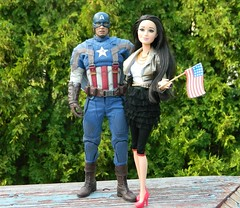 Raquelle was so excited to get a picture with Capain America after the Memorial Day parade (Pooh's World) Tags: barbie marvel captainamerica mattel marvelcomics memorialday theavengers chrisevans raquelle thewintersoldier marvelcinematicuniverse lifeinthedreamhouse