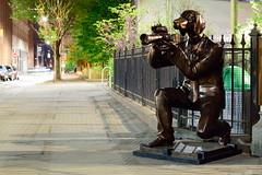 Dog Park (carloromeros10) Tags: park camera bridge dog statue metal brooklyn night dumbo vivid suit copper doggy doberman dogpark kneeling brooklynbridgepark