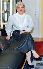 Ingrid022138 (ingrid_bach61) Tags: leather skirt blouse mature faux pleated ruffled kunstleder faltenrock rschenbluse