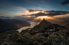 Ben A'an and Loch Katrine (GenerationX) Tags: sunset sky mountains water clouds landscape evening scotland rocks unitedkingdom dusk scottish peak neil gb summit rays trossachs barr lochkatrine benaan stronachlachar locharklet canon6d