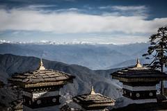 Druk Wangyal Lhakhang Temple (.craig) Tags: travel bridge mountains building architecture clouds landscape bhutan buddhism structure monastery himalayas thimphu stompa